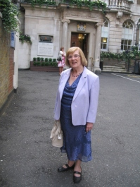 Maggie Ford outside The Royal Over Sea League